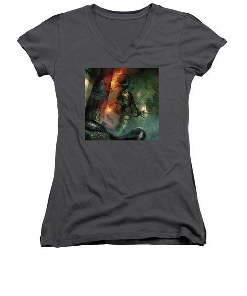 In The Lair Of The Gorgon Women's V-Neck T-Shirt (Junior Cut) by Ryan Barger