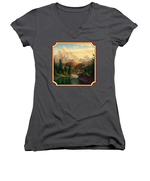 Indian Village Trapper Western Mountain Landscape Oil Painting - Native Americans -square Format Women's V-Neck T-Shirt (Junior Cut) by Walt Curlee