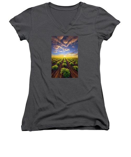 Into The Future Women's V-Neck T-Shirt (Junior Cut) by Phil Koch