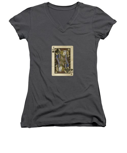 Jack Of Clubs In Wood Women's V-Neck T-Shirt (Junior Cut) by YoPedro