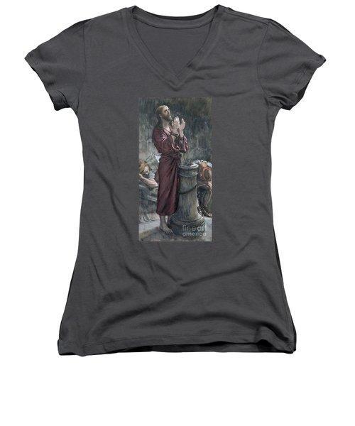 Jesus In Prison Women's V-Neck T-Shirt (Junior Cut) by Tissot