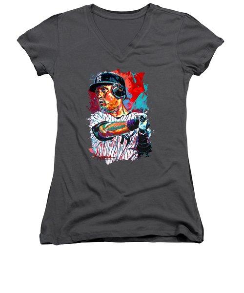 Jeter At Bat Women's V-Neck T-Shirt (Junior Cut) by Maria Arango