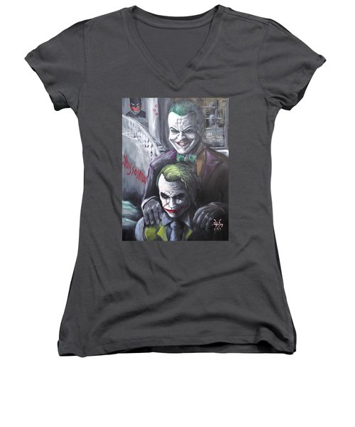 Jokery In Wayne Manor Women's V-Neck T-Shirt (Junior Cut) by Tyler Haddox
