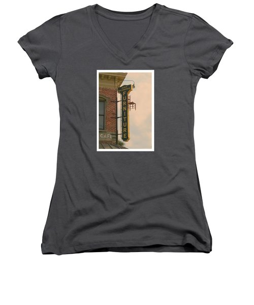 Juan's Furniture Store Women's V-Neck T-Shirt (Junior Cut) by Robert Youmans