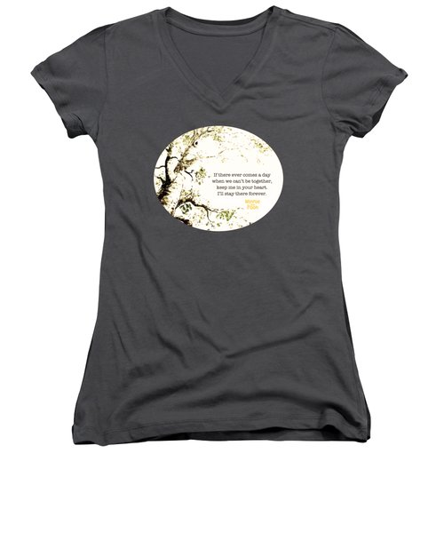 Keep Me In Your Heart Women's V-Neck T-Shirt (Junior Cut) by Nancy Ingersoll