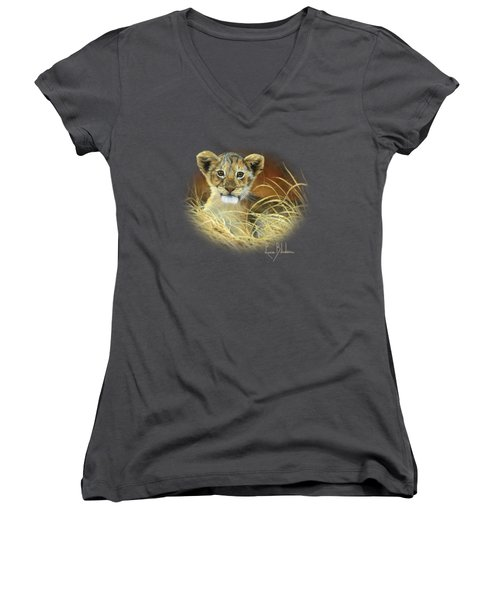 King To Be Women's V-Neck T-Shirt (Junior Cut) by Lucie Bilodeau