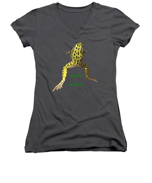 Kiss Me I'm A Prince Women's V-Neck T-Shirt (Junior Cut) by David and Lynn Keller
