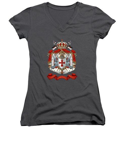 Knights Templar - Coat Of Arms Over Red Velvet Women's V-Neck T-Shirt (Junior Cut) by Serge Averbukh