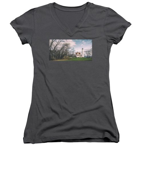 Late Afternoon At The Lighthouse Women's V-Neck T-Shirt (Junior Cut) by Scott Norris