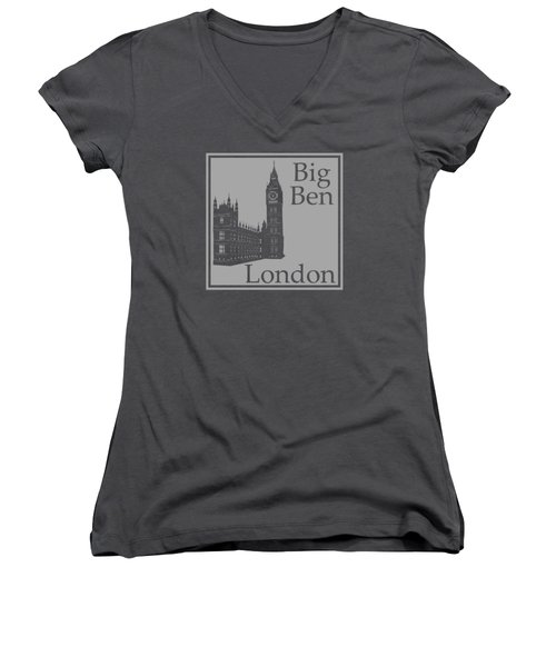 London's Big Ben In Gray Women's V-Neck T-Shirt (Junior Cut) by Custom Home Fashions