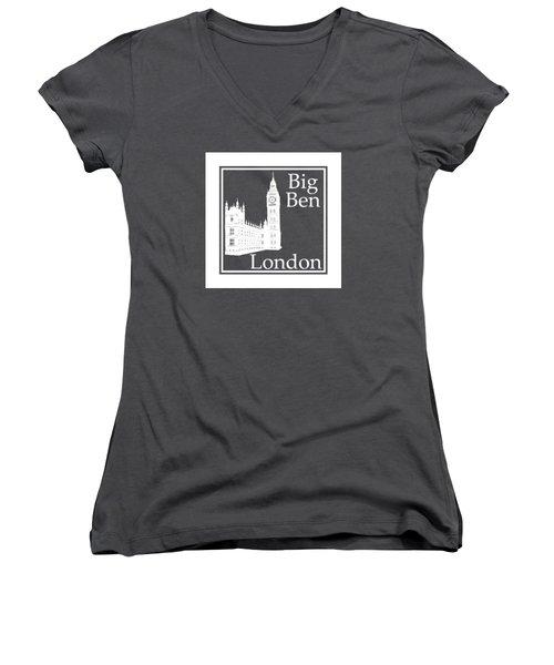London's Big Ben In White - Inverse  Women's V-Neck T-Shirt (Junior Cut) by Custom Home Fashions