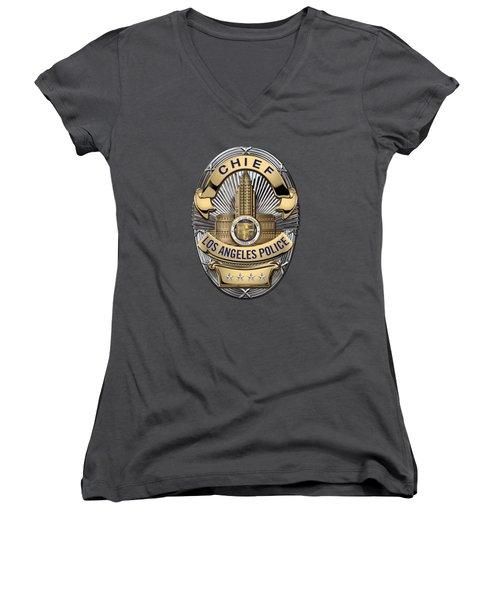 Los Angeles Police Department  -  L A P D  Chief Badge Over Blue Velvet Women's V-Neck T-Shirt (Junior Cut) by Serge Averbukh