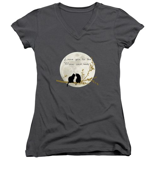 Love You To The Moon And Back Women's V-Neck T-Shirt (Junior Cut) by Linda Lees
