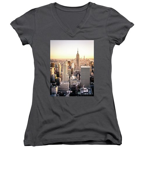 Manhattan Women's V-Neck T-Shirt (Junior Cut) by Michael Weber