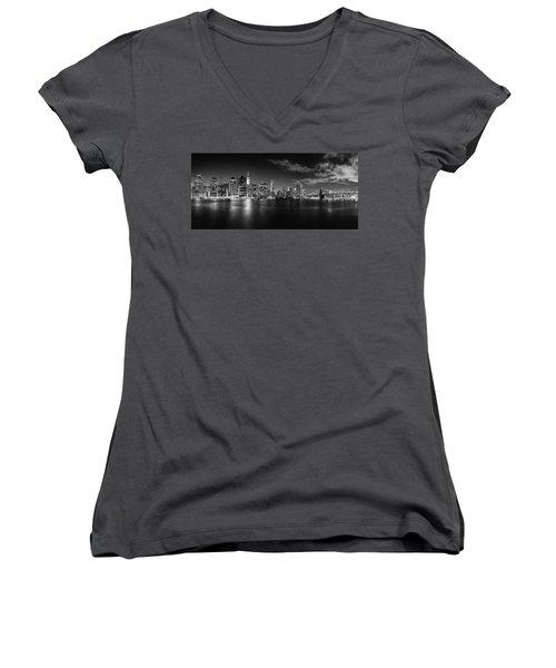 Manhattan Skyline At Night Women's V-Neck T-Shirt (Junior Cut) by Az Jackson
