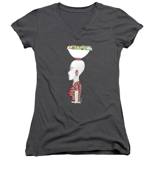 Market Woman1 Women's V-Neck T-Shirt (Junior Cut) by Gerri McCritty