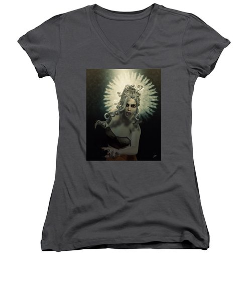 Medusa Women's V-Neck T-Shirt (Junior Cut) by Joaquin Abella
