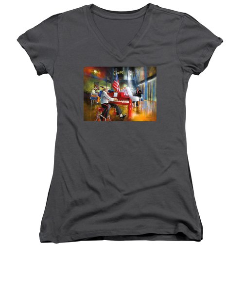 Memphis Nights 04 Women's V-Neck T-Shirt (Junior Cut) by Miki De Goodaboom