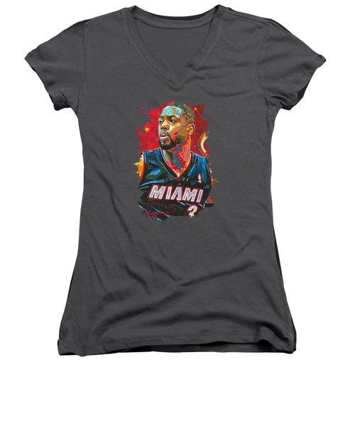 Miami Heat Legend Women's V-Neck T-Shirt (Junior Cut) by Maria Arango