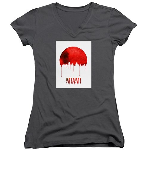 Miami Skyline Red Women's V-Neck T-Shirt (Junior Cut) by Naxart Studio