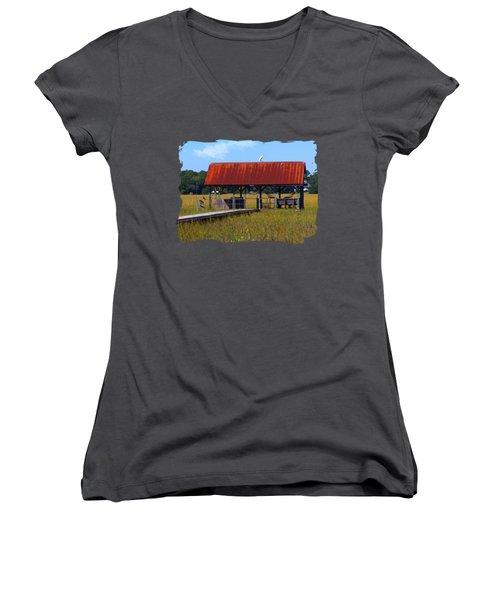 Midday Island Creek View Women's V-Neck T-Shirt (Junior Cut) by Deborah Smith