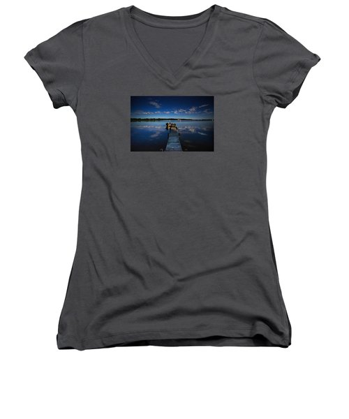 Midnight At Shady Shore On Moose Lake Minnesota Women's V-Neck T-Shirt (Junior Cut) by Alex Blondeau
