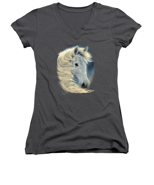Midnight Glow Women's V-Neck T-Shirt (Junior Cut) by Lucie Bilodeau