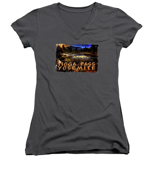 Mine Creek Between Lakes Ellery And Tioga Women's V-Neck T-Shirt (Junior Cut) by Roger Passman