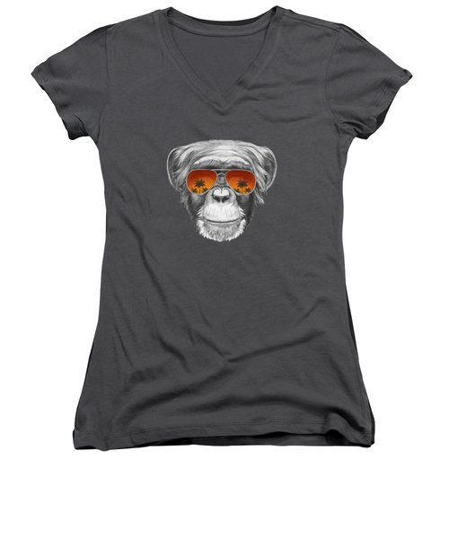 Monkey With Mirror Sunglasses Women's V-Neck T-Shirt (Junior Cut) by Marco Sousa