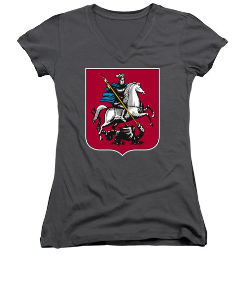 Moscow Coat Of Arms Women's V-Neck T-Shirt (Junior Cut) by Frederick Holiday