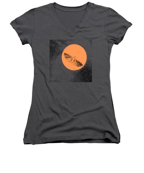 Moth In Orange Women's V-Neck T-Shirt (Junior Cut) by Sverre Andreas Fekjan