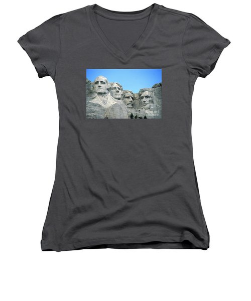 Mount Rushmore Women's V-Neck T-Shirt (Junior Cut) by American School