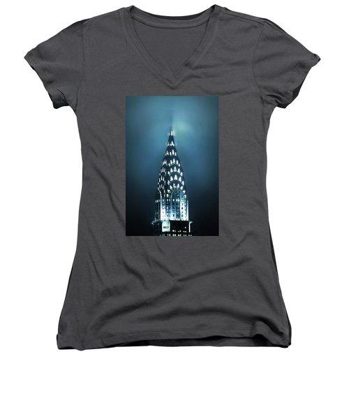 Mystical Spires Women's V-Neck T-Shirt (Junior Cut) by Az Jackson
