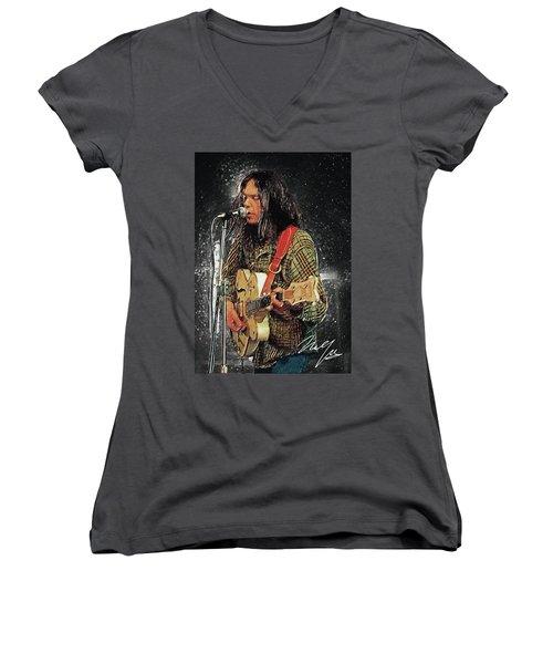 Neil Young Women's V-Neck T-Shirt (Junior Cut) by Taylan Apukovska