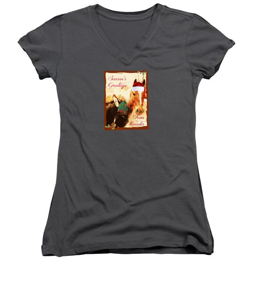 Nevada Greetings Women's V-Neck T-Shirt (Junior Cut) by Bobbee Rickard