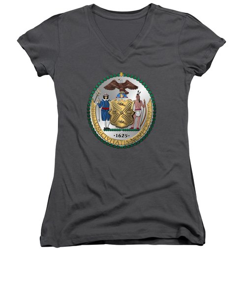 New York City Coat Of Arms - City Of New York Seal Over Red Velvet Women's V-Neck T-Shirt (Junior Cut) by Serge Averbukh