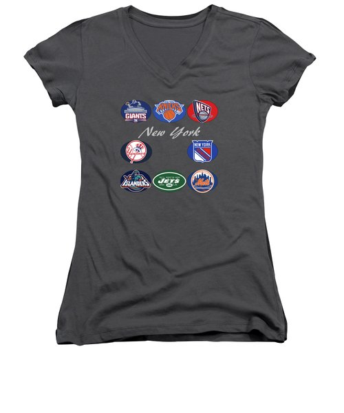 New York Professional Sport Teams Collage  Women's V-Neck T-Shirt (Junior Cut) by Movie Poster Prints