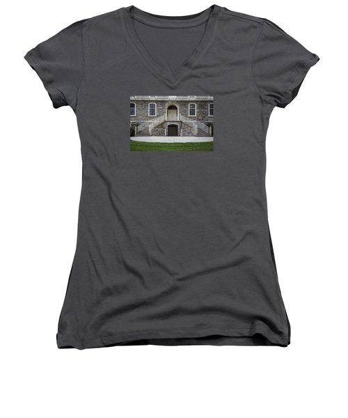 Old Main Penn State Stairs  Women's V-Neck T-Shirt (Junior Cut) by John McGraw