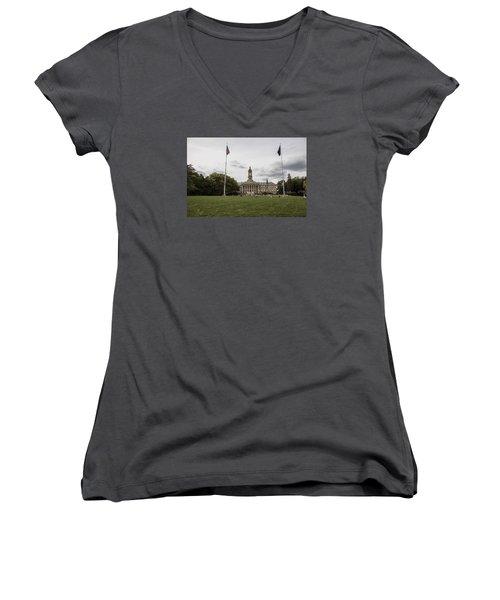 Old Main Penn State Wide Shot  Women's V-Neck T-Shirt (Junior Cut) by John McGraw
