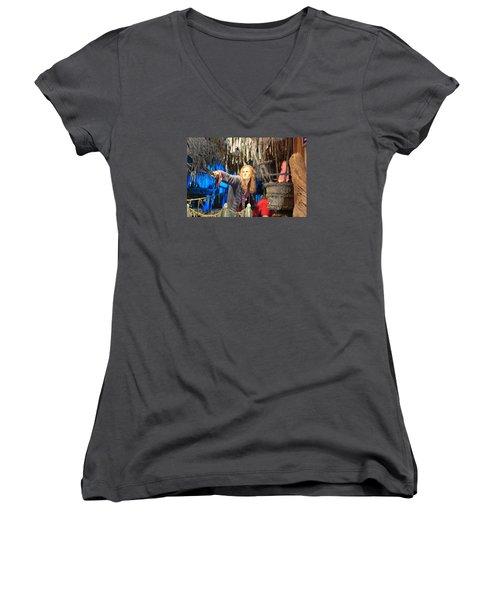 Orlando Bloom Women's V-Neck T-Shirt (Junior Cut) by Qingrui Zhang