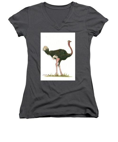 Ostrich Bird Women's V-Neck T-Shirt (Junior Cut) by Juan Bosco