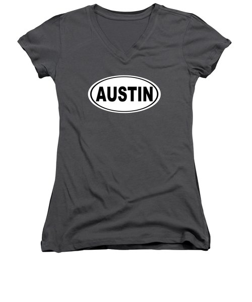 Oval Austin Texas Home Pride Women's V-Neck T-Shirt (Junior Cut) by Keith Webber Jr