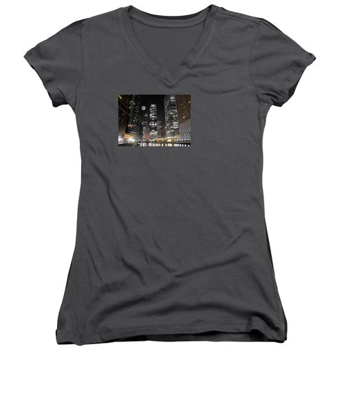 Panoramic Lakefront View In Chicago Women's V-Neck T-Shirt (Junior Cut) by Frozen in Time Fine Art Photography