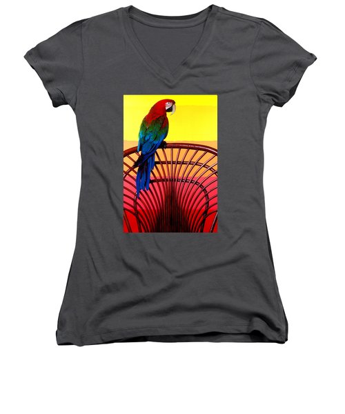 Parrot Sitting On Chair Women's V-Neck T-Shirt (Junior Cut) by Garry Gay