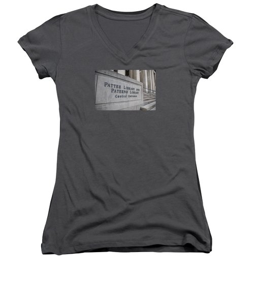 Paterno Library At Penn State  Women's V-Neck T-Shirt (Junior Cut) by John McGraw