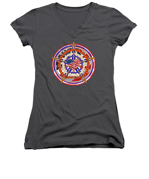 Patriotic For You America Where It Loud And Proud Women's V-Neck T-Shirt (Junior Cut) by Bill Campitelle
