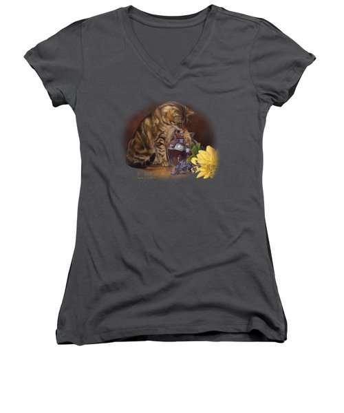 Paw In The Vase Women's V-Neck T-Shirt (Junior Cut) by Lucie Bilodeau