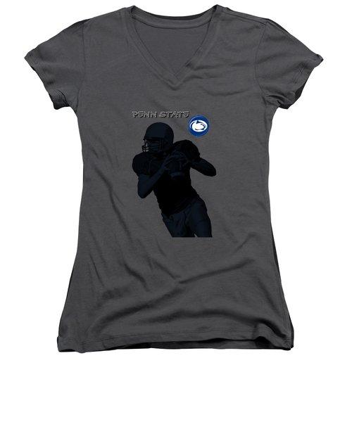 Penn State Football Women's V-Neck T-Shirt (Junior Cut) by David Dehner