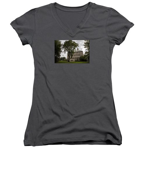 Penn State Old Main And Tree Women's V-Neck T-Shirt (Junior Cut) by John McGraw