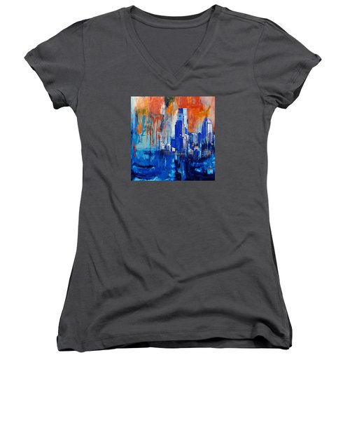 Philadelphia Skyline 227 1 Women's V-Neck T-Shirt (Junior Cut) by Mawra Tahreem